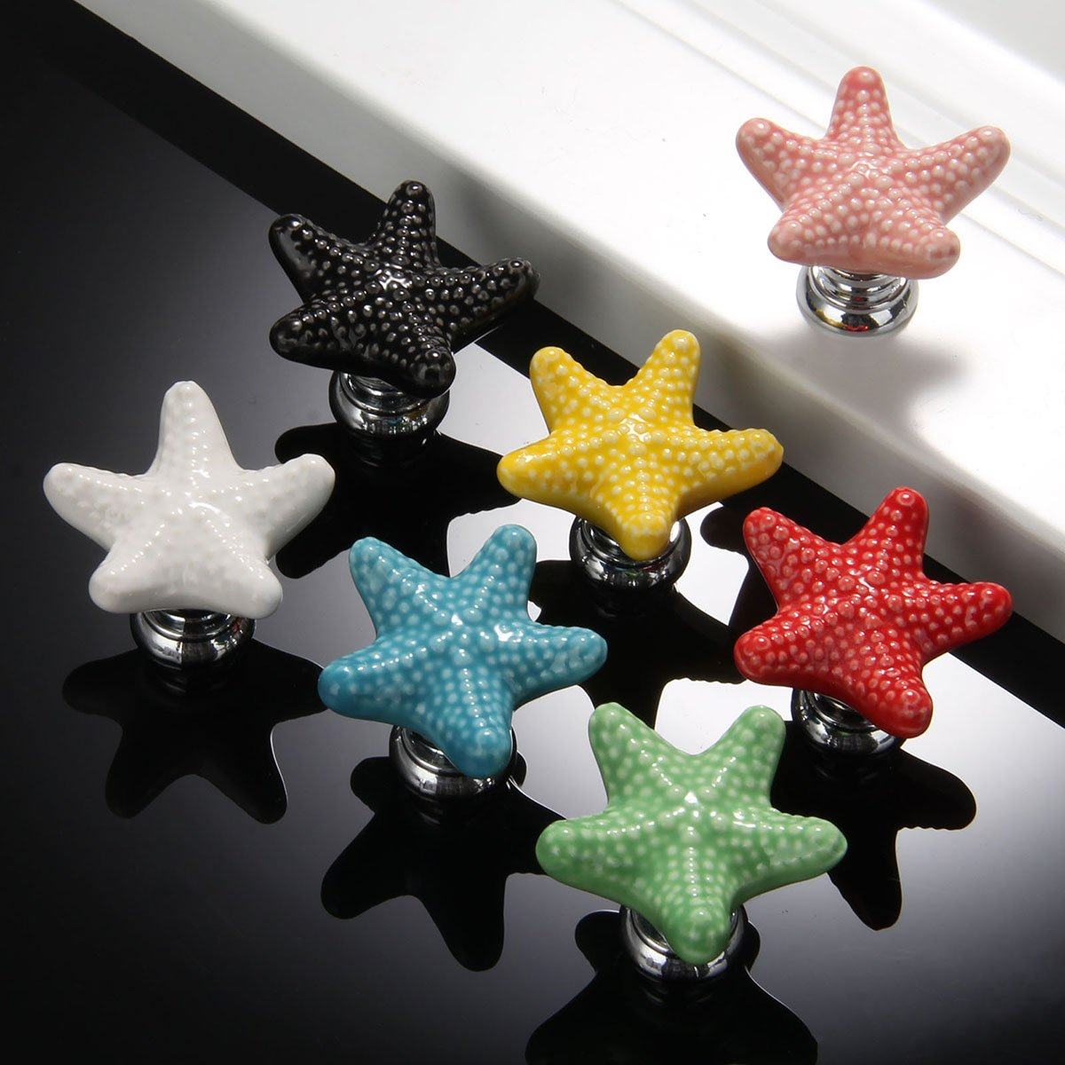 Pack of 7 Monoshop Mixed Colors Starfish Shape Drawer Cupboard Pulls Handles Wardrobe Drawer Cabinet Door Kitchen Knobs and Handles