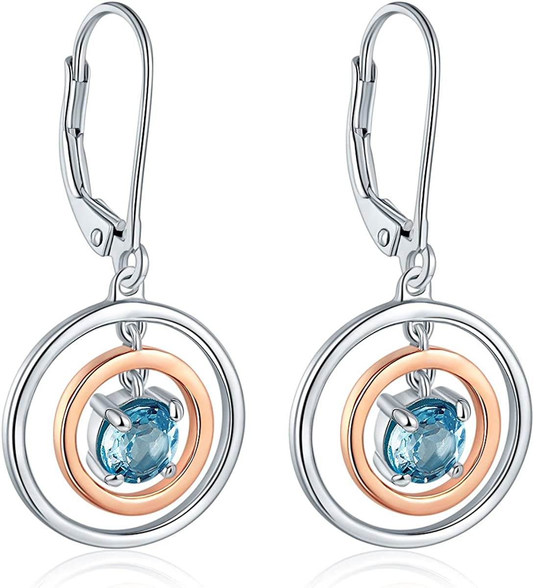Hutang - Pendientes de plata de ley 925 con topacio azul cielo natural, pendientes de oro rosa, joyería de piedras preciosas para regalo