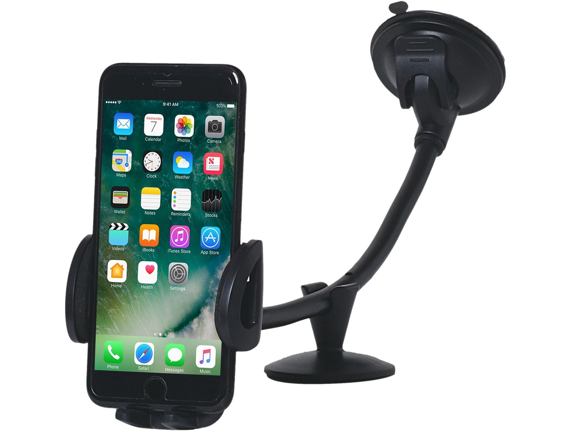 CAR Mount Cell Phone Holder, 13 Inches Long Arm with Anti-skid Base with Strong Suction model 2018 for iPhone 8P/8/7/7P/6s/6P/5S, Galaxy S5/S6/S7/S8, Google, LG, Huawei and More