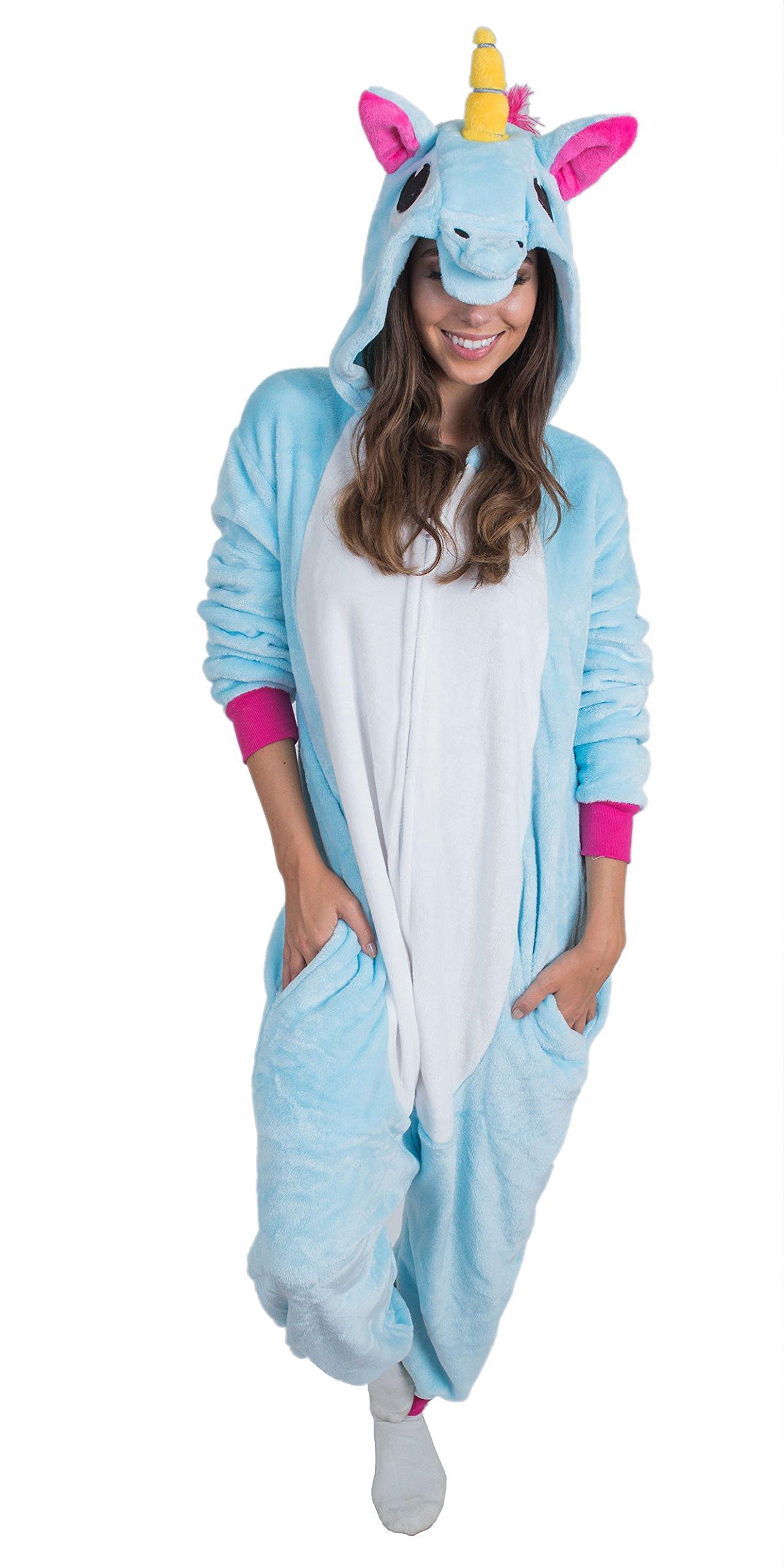 Bad Bear Brand Adult Onesie Unicorn Kigurumi Pajamas (Large, Blue Plush)