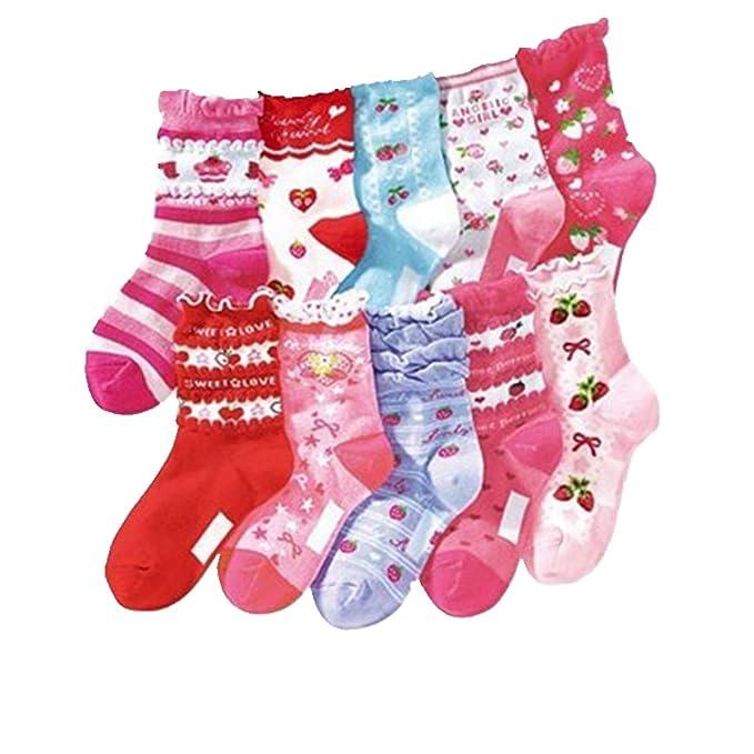 Cczmfeas Calcetines de niña Calcetines de Corona algodón con textura gruesa 10 pares de calcetines: Amazon.es: Ropa y accesorios