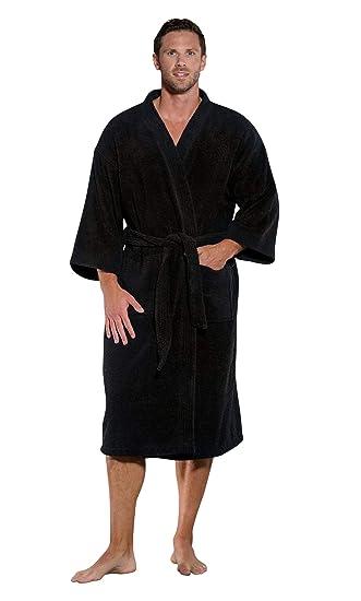 100% Turkish Cotton Men and Women Premium Terry Kimono Bathrobe Made in  Turkey (Black a6ca50d06