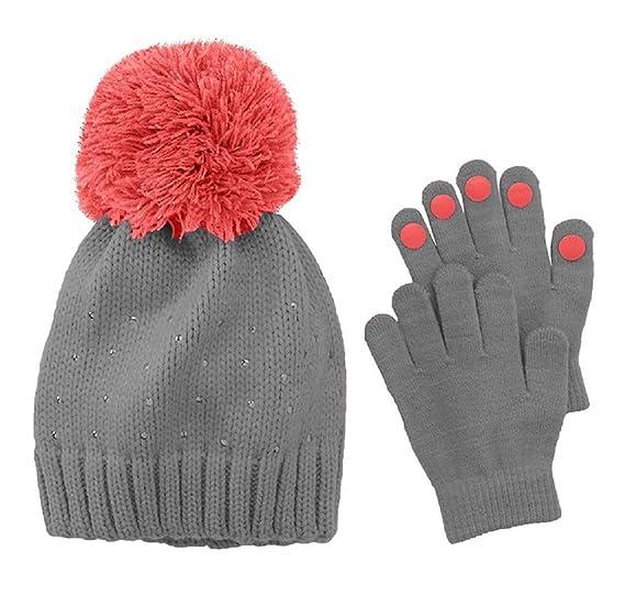 Amazon.com  Girls 4-16 Rhinestone Hat   Gloves Set Gray  Clothing cade9b0bc27