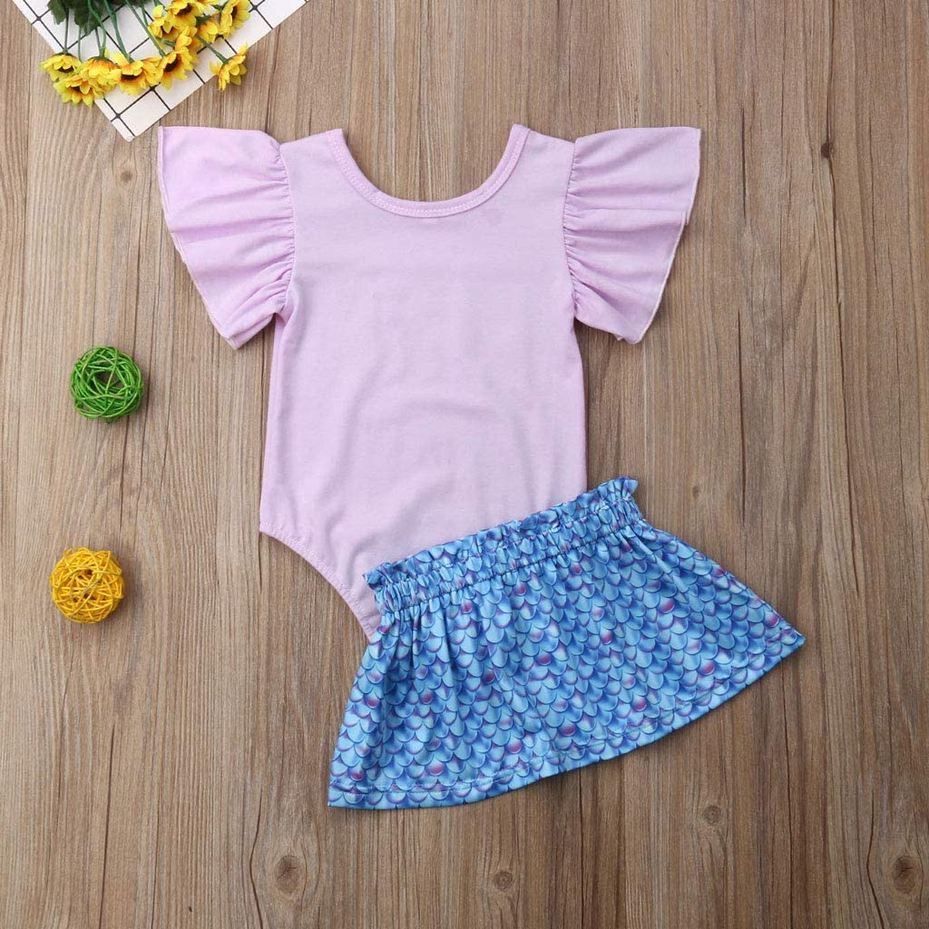 Toddler Rawls Baby Girls Purple Letter Shell Romper Blue Scales Skirt Outfits Summer Fashion Suits 6-24months