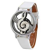 Reloj de pulsera de cuarzo de cuero sintetico - SODIAL(R)Reloj de pulsera de cuarzo de esqueleto hueco de musica de correa de cuero sintetico para hombre y mujer blanco