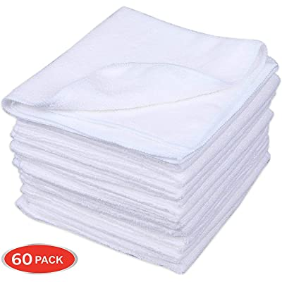 CARTMAN Microfiber Cleaning Cloth in White Color 14 in x 14 in, 60pk (White): Automotive