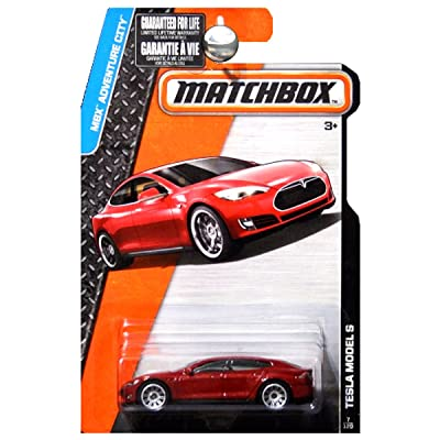 Matchbox 2015 MBX Adventure City Tesla Model S Maroon Red Metallic: Toys & Games