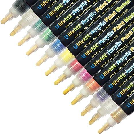Rotuladores de Pintura Acrílico, UlifeME 12 Colores Permanente Marcadores para Ceramica, Tela, Marcador Metal, Plastico, Cristal, Vidrio, Pintar ...