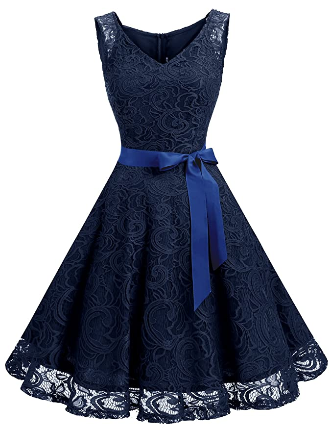 1950s Cocktail Dresses, Party Dresses Dressystar Women Floral Lace Bridesmaid Party Dress Short Prom Dress V Neck $30.69 AT vintagedancer.com