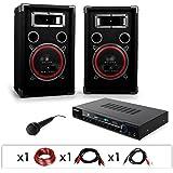 DJ10 - Set de sono DJ avec ampli, 2 enceintes 1000W, micro et cablage (haut-parleurs 20cm)