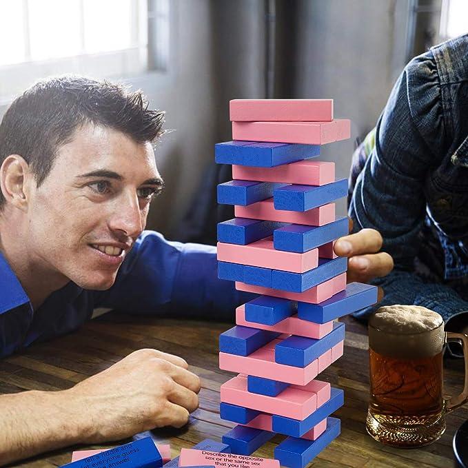 Lewo Drinking Games 54 Piezas Juegos de Mesa Torre Juegos de Pareja Entretenidos Regalos de Fiesta de San Valentín: Amazon.es: Juguetes y juegos