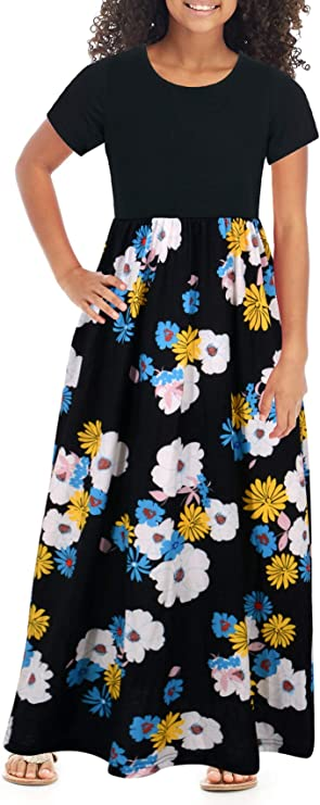 60s 70s Kids Costumes & Clothing Girls & Boys GORLYA Girls Short Sleeve Patchwork Floral Print Loose Casual Long Maxi Dress with Pockets for 4-12 Years Kids $20.99 AT vintagedancer.com