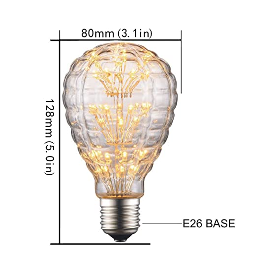 CanYa Edison Style Vintage LED Decorative Firework Light Bulb 2W Antique Shape 20W Equivalent for Decoration 1 Pack - - Amazon.com