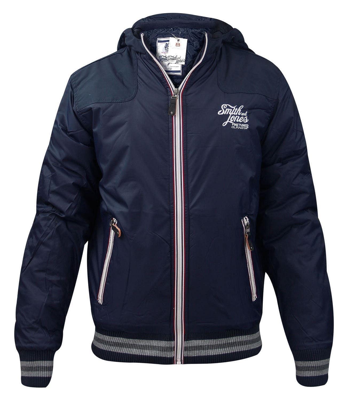 Mens Smith & Jones Hooded Windbreaker Zip Up Jacket - Errial Navy