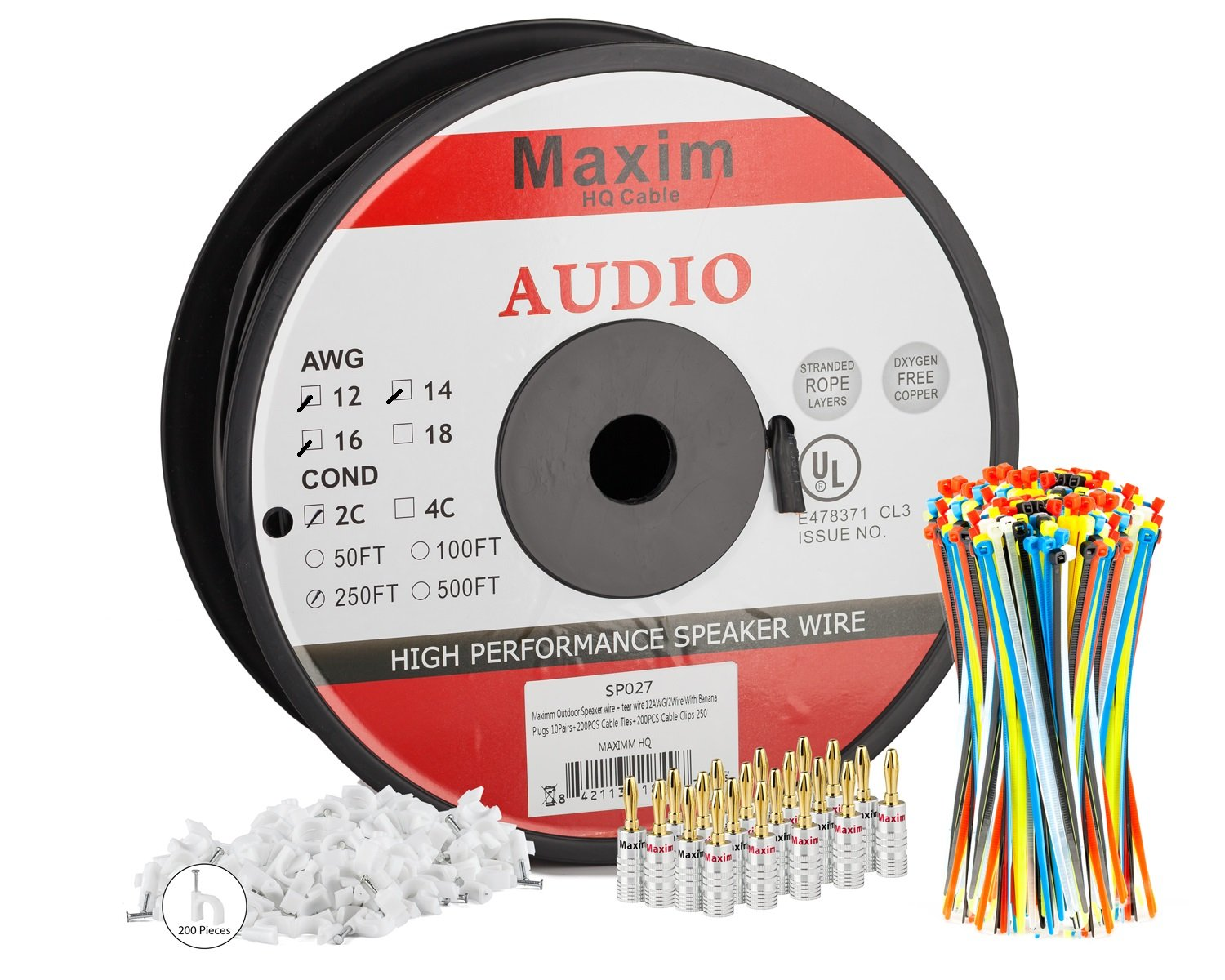Maximm Direct Burial Speaker Wire - 250 Feet - 12AWG CL3 Rated 2-Conductor Wire Black 99.9% Oxygen Free Copper - Banana plugs, Cable clips and ties Included by Maximm