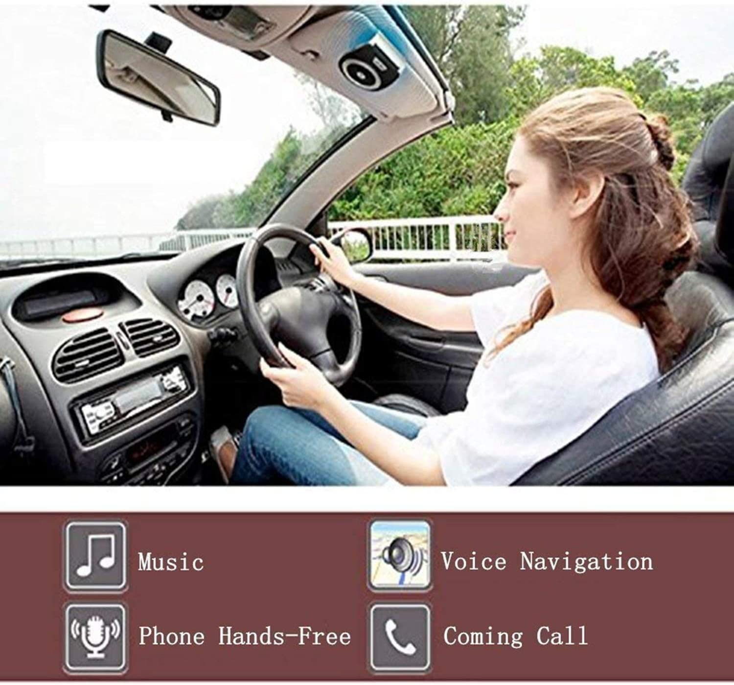 Wireless in-Car Speakerphones,TIANSHILI HandsFree Talking Visor Clip Bluetooth Speaker,Auto On Off,Dual Link Connectivity with Siri /& Google Assistant