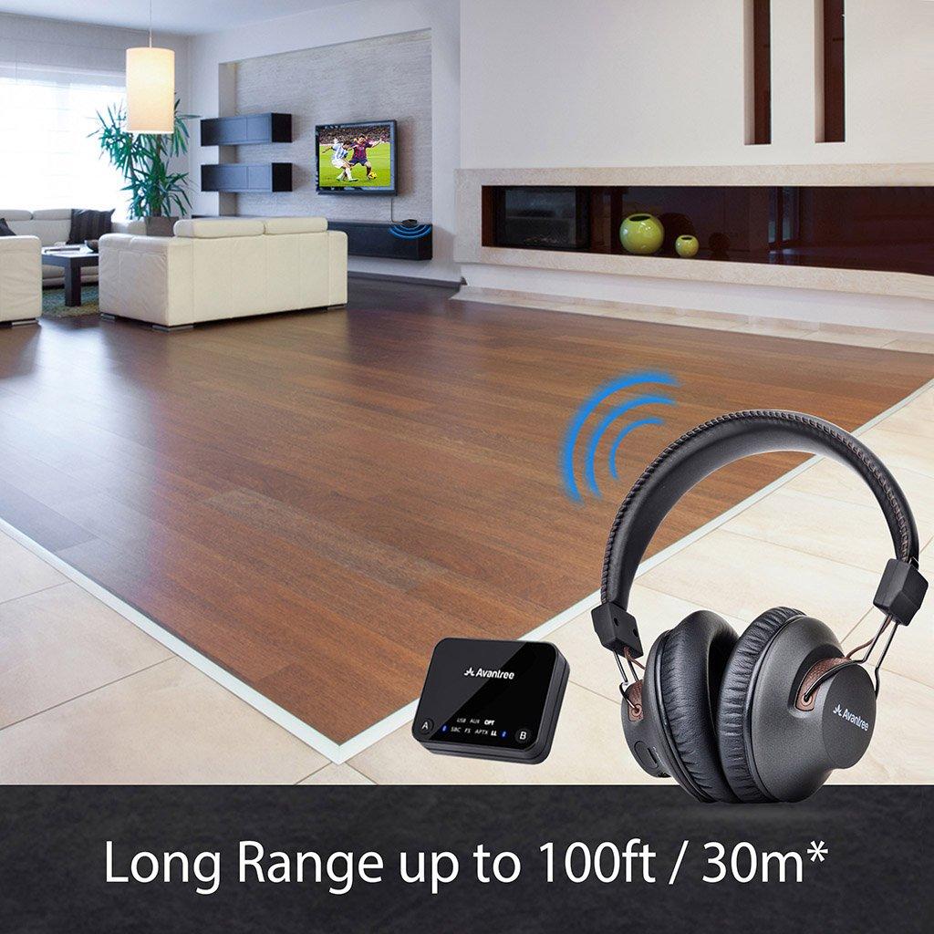 7dc3d71c09b Avantree HT4189 Wireless Headphones for TV Watching, Computer Talking, w/Bluetooth  Transmitter ...