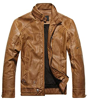 VSVO Men's Stand Collar Fleece Lined Faux Leather Jacket (Medium, B Yellow)