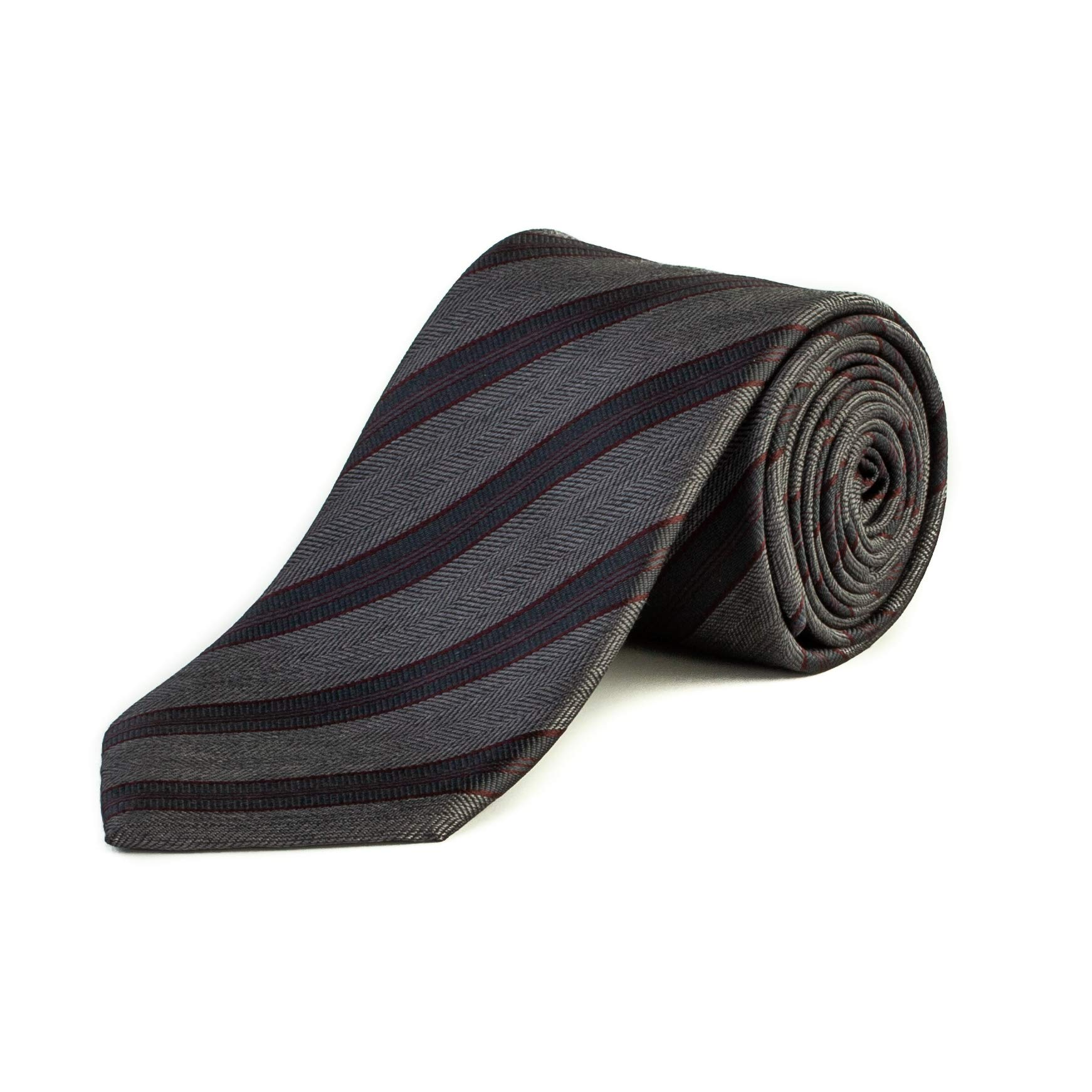 Brioni Men's Wool Striped Pattern Tie Grey/Red