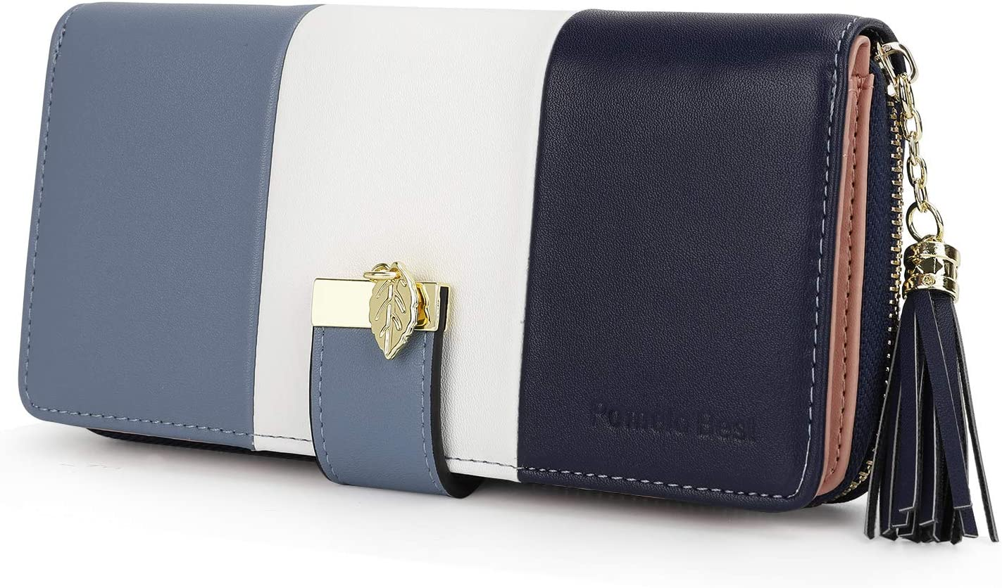 Pomelo best Monederos Mujer Cartera de Mujer de Gran Capacidad de Cuero de Mujer con RFID Bloqueo Bolsos Largo de Mujer con Cremallera de Bolsillo y Borlas (Azul 2)