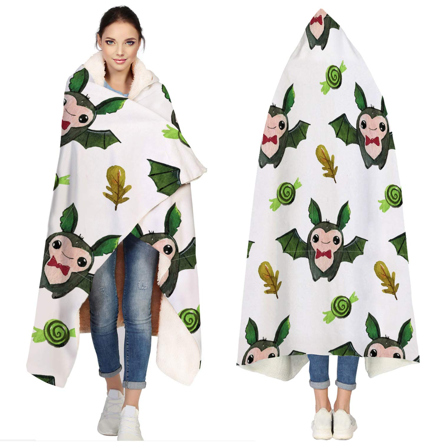 SUN-Shine Happy Halloween Sherpa Hooded Blanket, Wrap Soft Flannel Fleece Wearable Throw Hoodie Blankets for Kids Adults Girls Boys, Cartoon Paved Bats Leaves and Candy by SUN-Shine