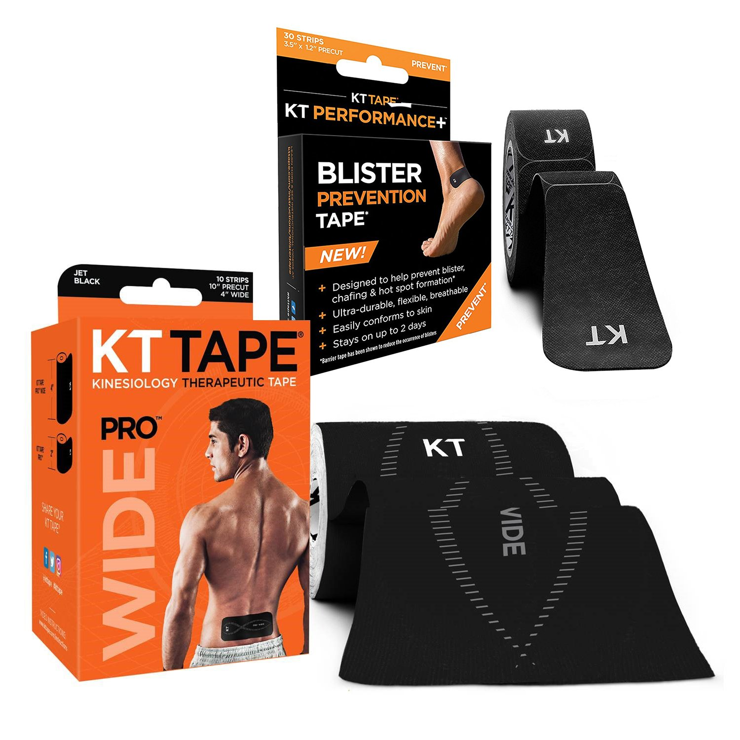 KT Tape Pro Wide Kinesiology Sports Tape, 10 Precut 10 inch Strips with Free Blister Prevention Pack