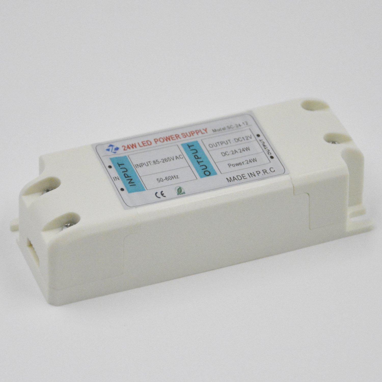 Belecome LED Transformer LED Power Supply 24W 12V DC 2A Constant Voltage for LED Strip Lights G4 MR11 MR16 LED Spot Light Bulbs (2A 24W)