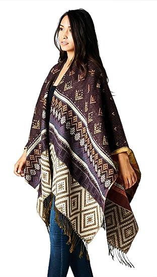 Navajo Blanket Aztec Tribal Scarf Poncho Fringe Cape & Storage Bag