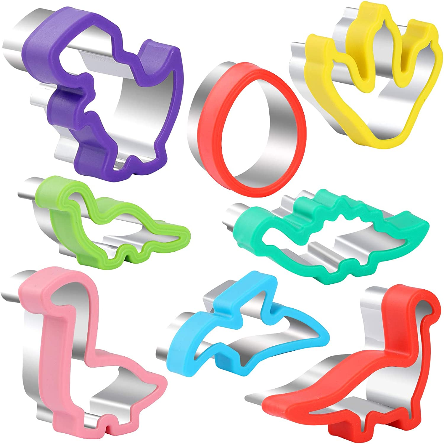 8pcs Dinosaur Cookie cutters set, Stainless Steel Sandwich Cutters Cookie Cutters Vegetable cutters for Kids Baking, Bento Box and Food Decoration Tools for Kitchen