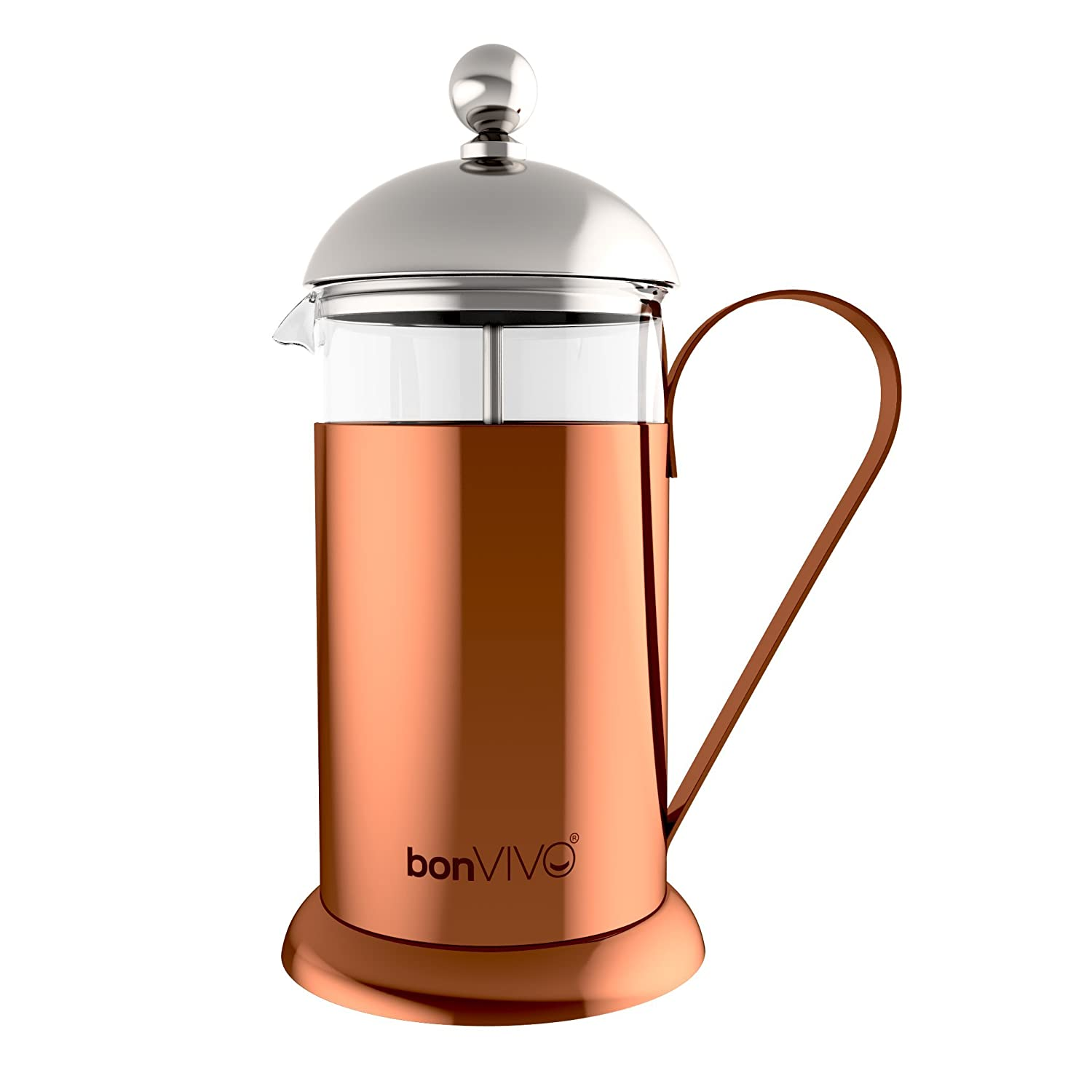bonVIVO GAZETARO II French Press Coffee Maker, Stainless Steel Cafetiere With Glass Jug, Coffee Plunger With Filter, Manual Coffee Maker With Copper Finish, Coffee Press In Large (12 oz/035.0 l /350ml) Bonstato