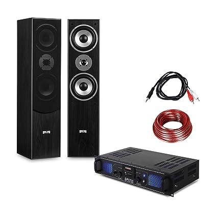 Set equipo de sonido estéreo HiFi (Amplificador audio PA DJ 2000W USB SD, altavoces