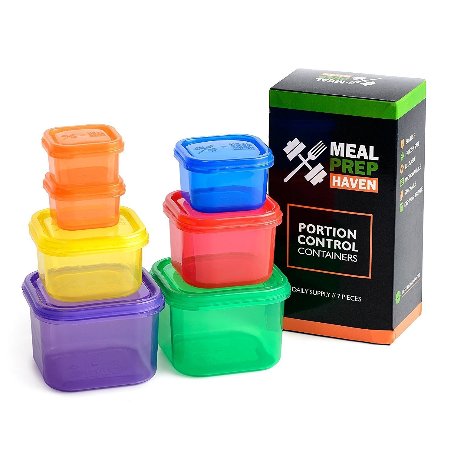 Meal Prep Haven 7 Piece Portion Control Container Kit with Guide, Black, Comparable to 21 Day Fix MP-PC7PC