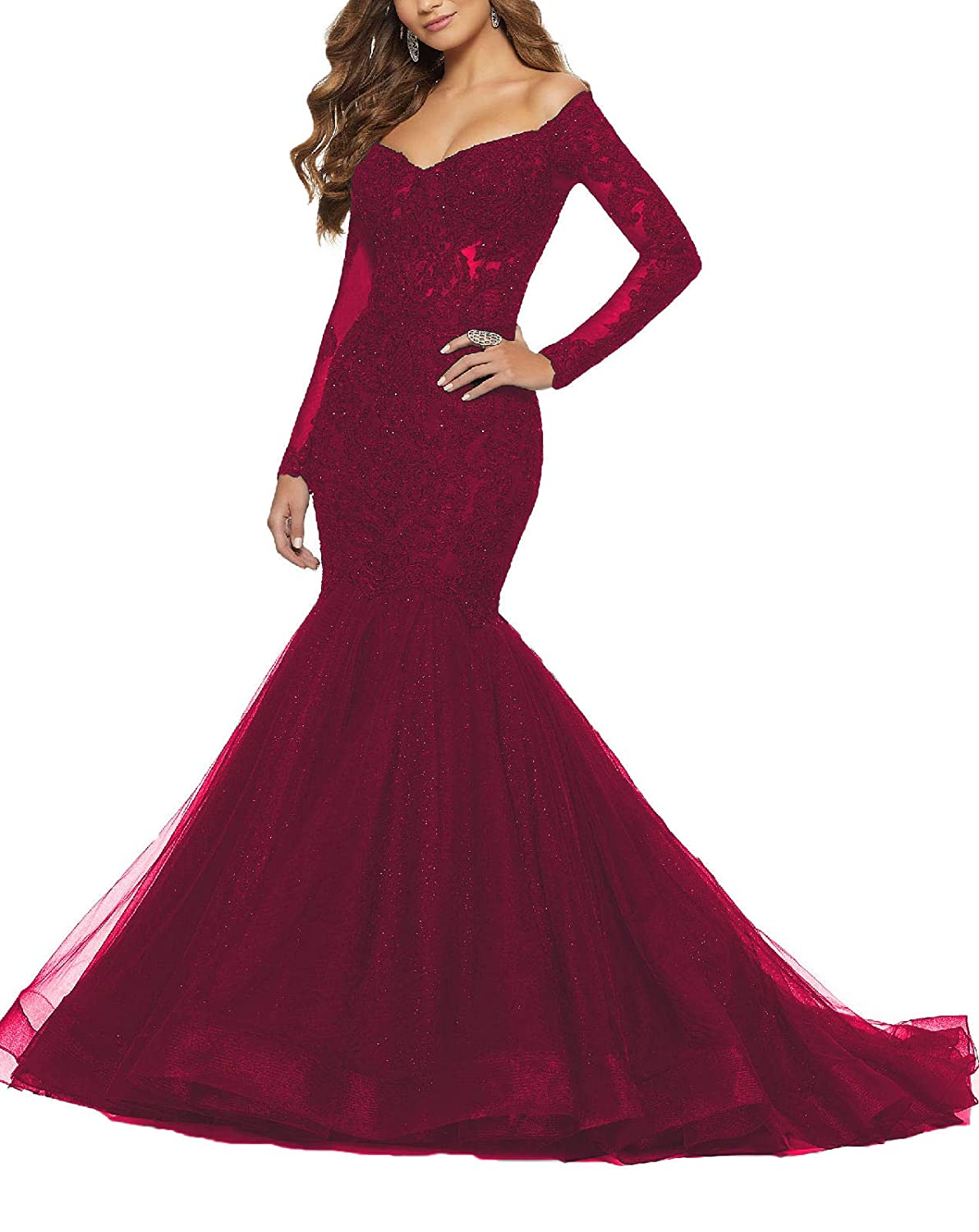 Burgundy Yisha Bello Women's Off The Shoulder Long Sleeve Mermaid Pro Dress Lace Applique Beaded Evening Dress Formal Ball Gowns