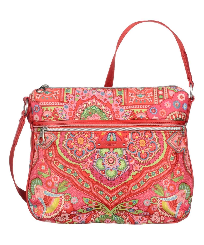 Oilily Raspberry Medium Flat Shoulder Bag