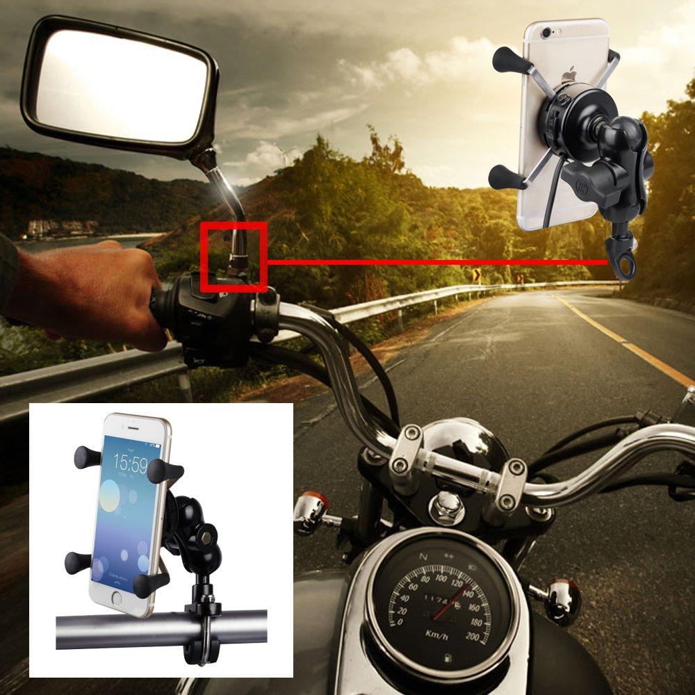 BlueFire Motorrad Handyhalterung, Universal X-Grip Aluminium 360/° Drehbare Motorrad Handy Halter mit 5V 2,1A USB Ladeger/ä t f/ü r Alle 3,5 Inch zu 6 Inch Handy GPS CSK27N-BF-DE-123