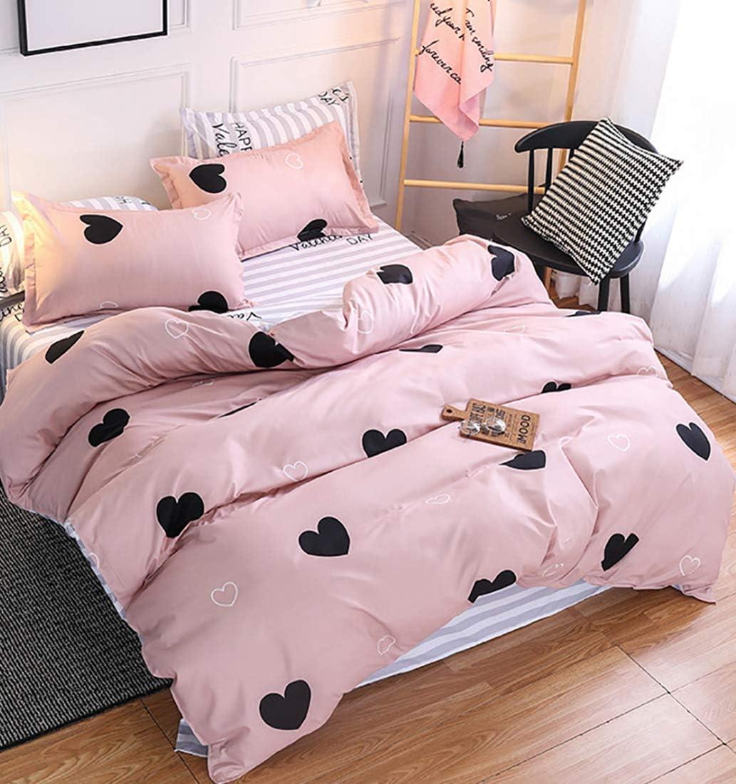 Omelas Blush Pink Heart-Shaped Queen Duvet Cover Set Black and Dusty Rose Full Bedding Comforter Cover Reversible Blue White Striped Soft Microfiber Quilt Cover for Kids Girls Teens Women