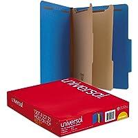 Universal Pressboard Classification Folders, Letter, Six-Section, Cobalt Blue, 10/Box (10301)