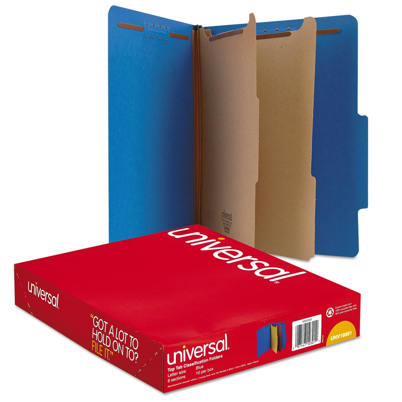 Universal Pressboard Classification Folders, Letter, Six-Section, Cobalt Blue, 10/Box (10301) by Universal