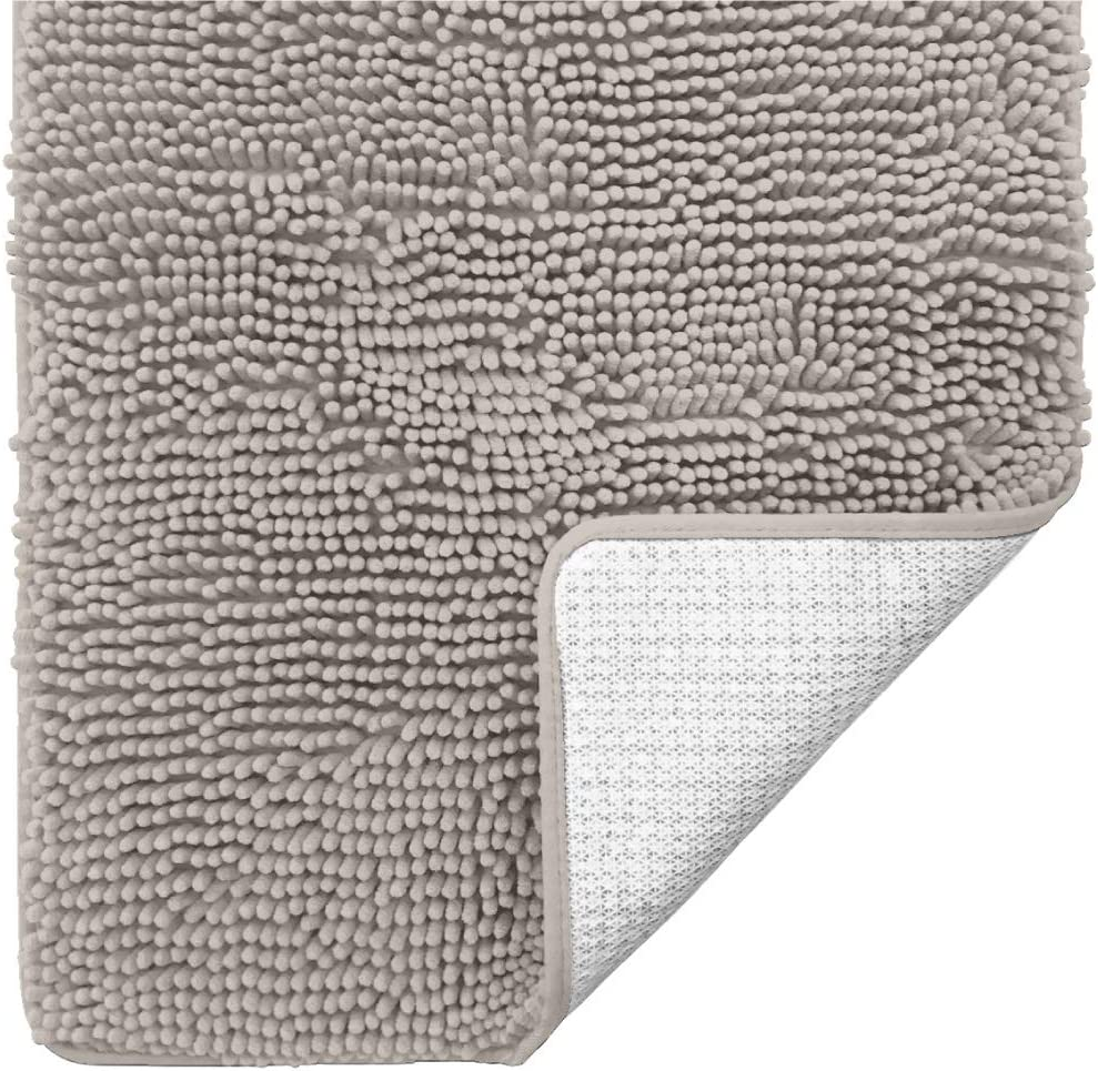 Gorilla Grip Original Luxury Chenille Bathroom Rug Mat, 30x20, Extra Soft and Absorbent Shaggy Rugs, Machine Wash Dry, Perfect Plush Carpet Mats for Tub, Shower, and Bath Room, Oatmeal