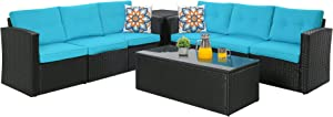 Outdoor Patio Furniture Sets 8-Piece Patio Conversation Sets, Wicker Rattan Sectional Couch Sofa Set with Glass Coffee Table & Wicker Storage Box, Aluminum Frame (Black/Blue)