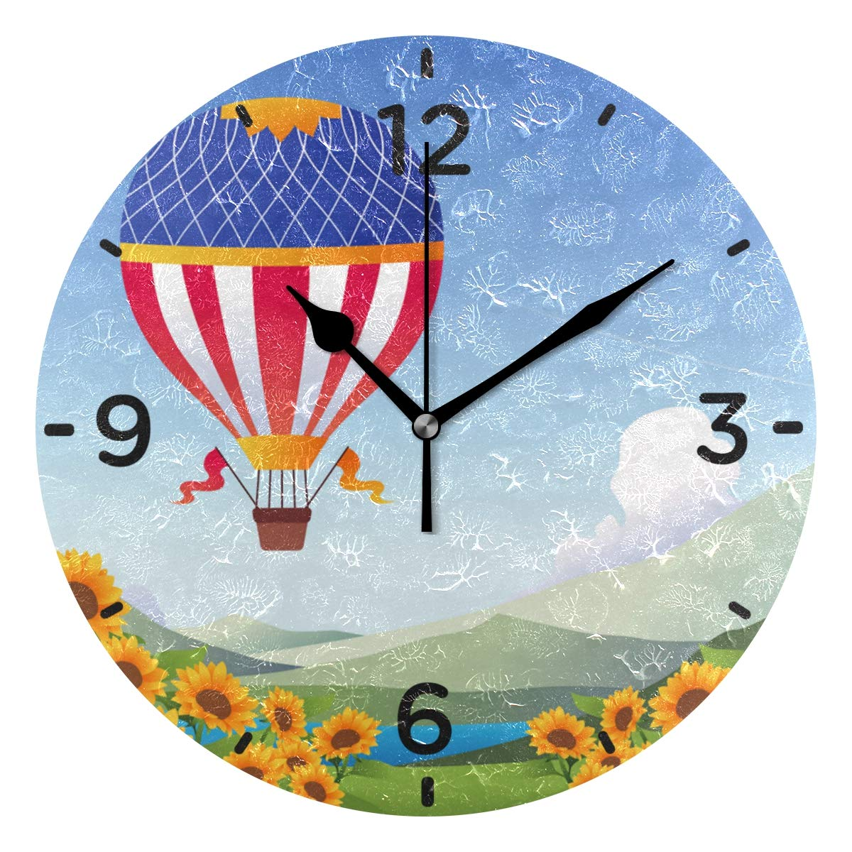 Hot Air Balloons with Sunflower Wall Clock