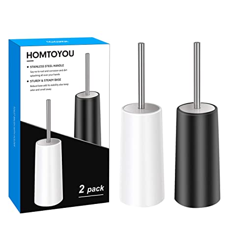 Amazon.com: HOMTOYOU - Cepillo de inodoro con soporte, mango ...