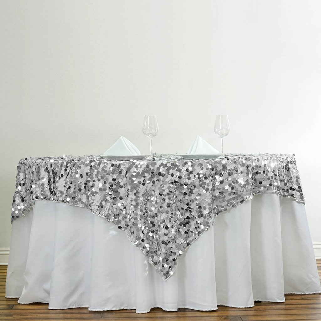 Efavormart 90'' Premium Big Payette Sequin Tablecloths Overlay For Wedding Banquet Catering Party Table Decorations-Silver