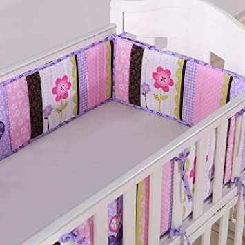 Baby Breathable Crib Bumper Pads 4 Piece//Lilac