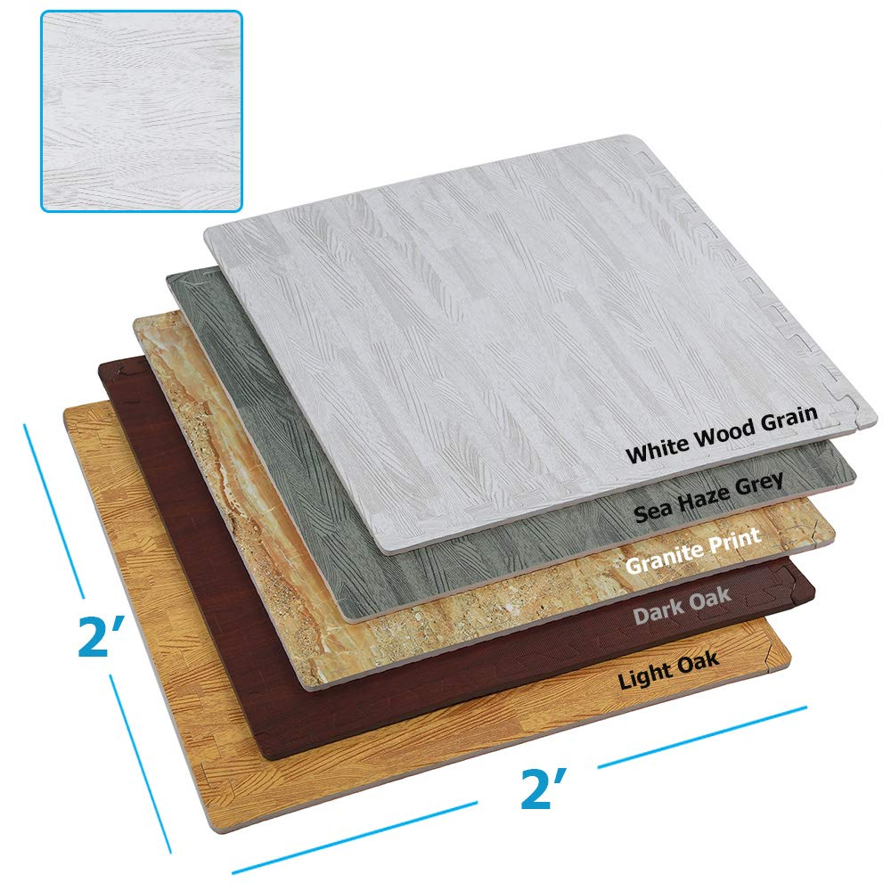 Clevr 100 Sq. Ft (10' x 10') EVA Interlocking Foam Mats Flooring, White Wood Grain Style - (24'' x 24'', 25 pcs) | Includess Tile Borders | 1 Year Limited Warranty | Perfect for Trade Shows and Convent by Clevr