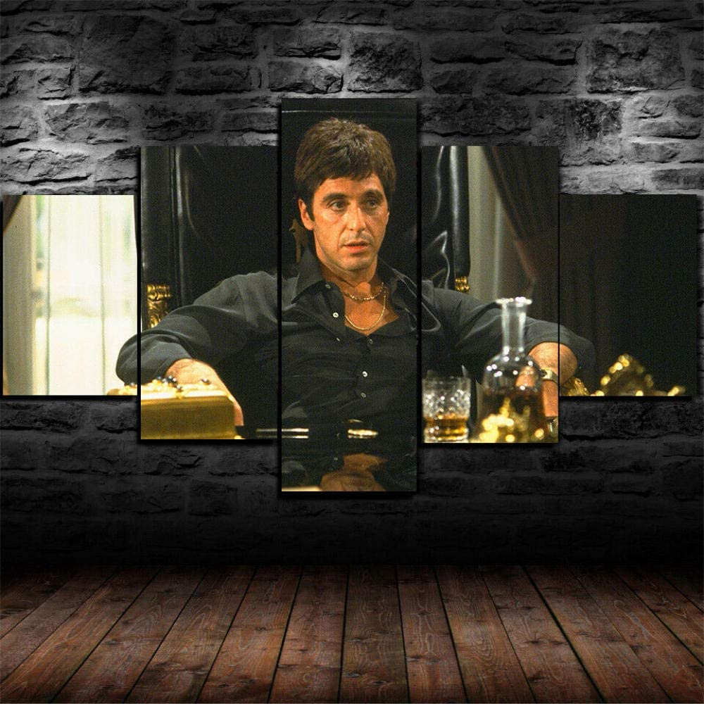 Luck7 Scarface Tony Montana Gangster Poster 5 Piece Canvas Print Wall Art Decor Framed Canvas Paintings Ready to Hang for Home Decorations Wall Decor-200x100cm