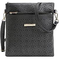 Vintage Hollow Out Shoulder Bag for Women PU Leather Crossbody Purse Handbag Medium