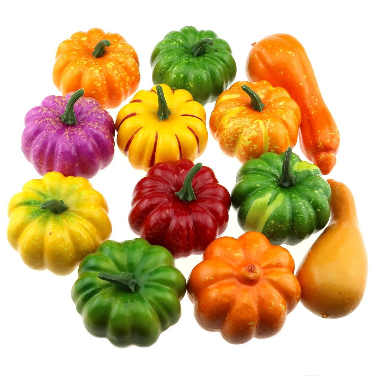 Gresorth 12 PCS Mixed Color Artificial Mini Pumpkins Fake Fall Harvest Pumpkin for Halloween Decoration by Gresorth
