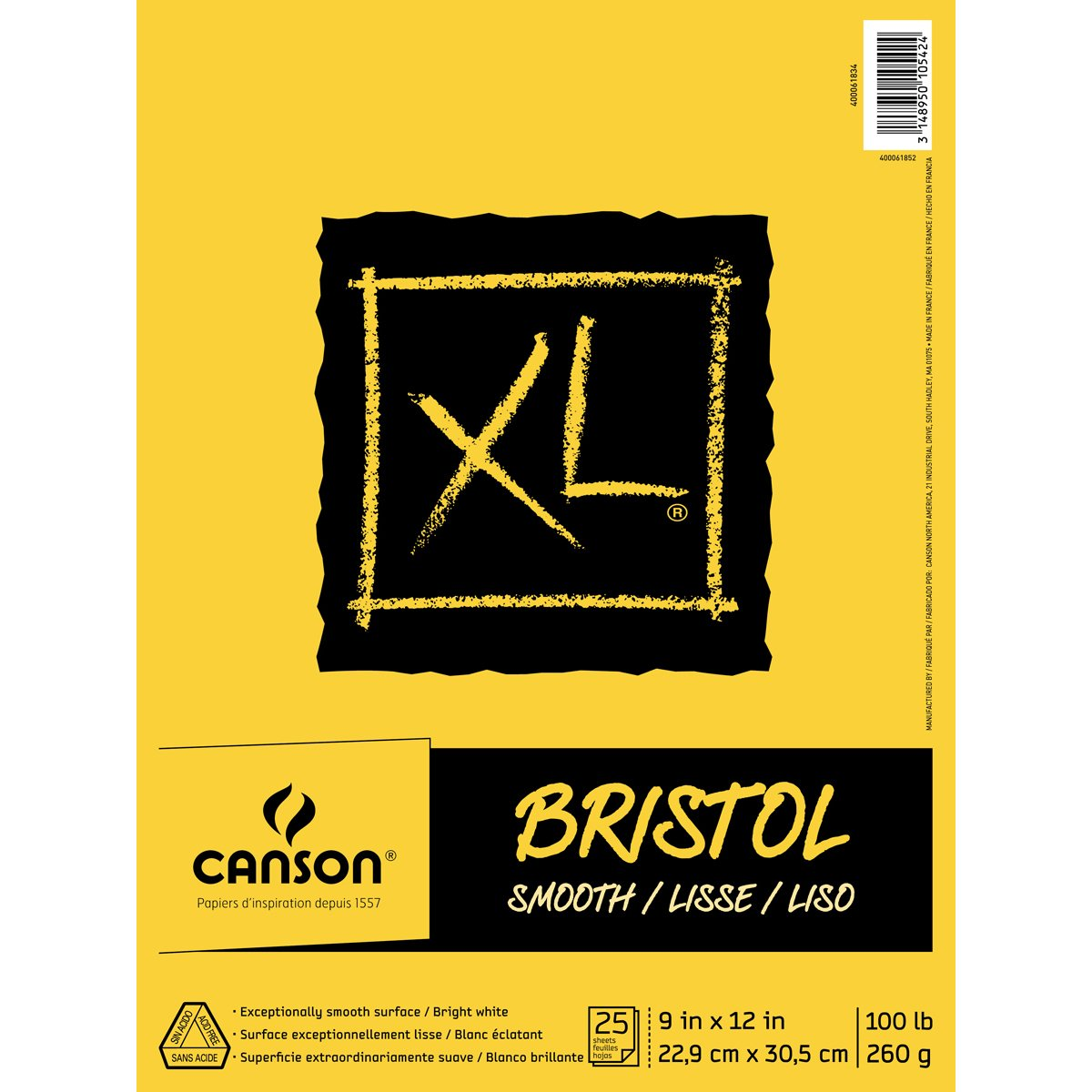 Canson XL Series Bristol Pad, Heavyweight Paper for Ink, Marker or Pencil, Smooth Finish, Fold Over, 100 Pound, 9 x 12 Inch, Bright White, 25 Sheets by Canson
