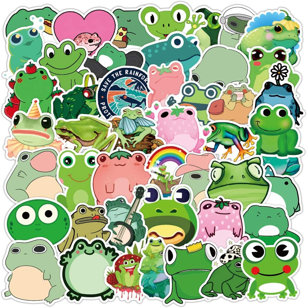 50pcs Cute Funny Green Frog Graffiti Stickers Waterproof Vinyl Decals for Laptop Wall Water Bottles Cars Car Window Card Making Crafts Skateboard Phone Vehicles Tumblers, Small Frog Sticker Pack